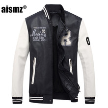 Aismz New Embroidery Baseball Jackets Coats Pu Faux Leather Slim Fit Zipper Spring Autumn Casual College Luxury Brand Coat  8801