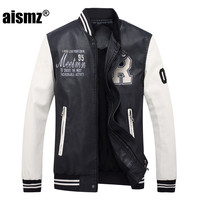 Aismz PU Jacket Men Clothing Casual Autumn Spring Men Coats Pactwork Overcoat Blue Black 8801