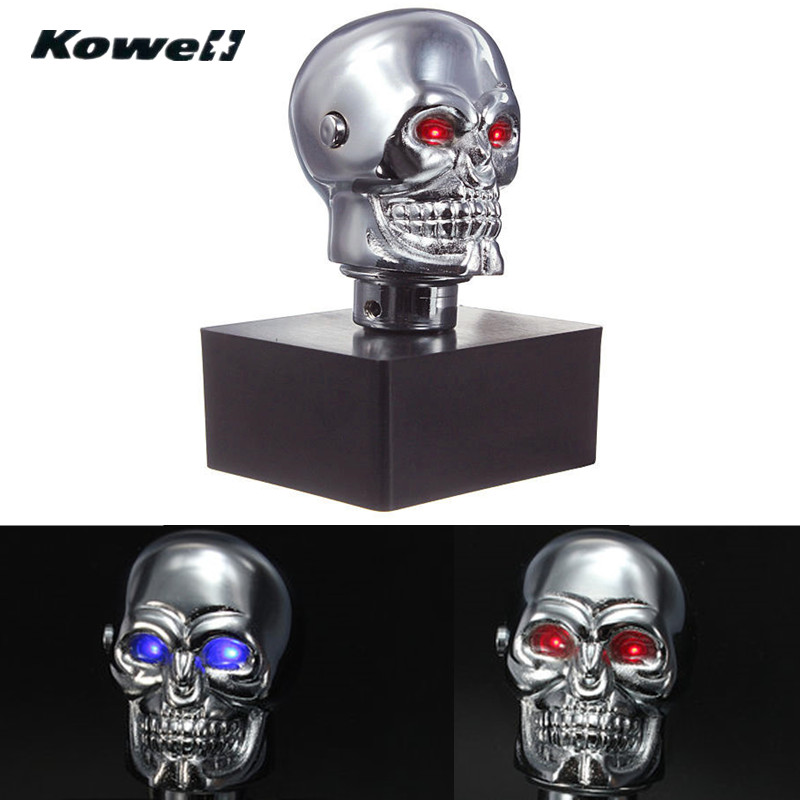 KOWELL Universal Led Eyes Skull Car Chrome Manual Transmission Gear Shift Knob for Volkswagen VW Golf for Lada for KIA for Ford-in Gear Shift Knob from Automobiles & Motorcycles