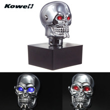 KOWELL Universal Led Eyes Skull Car Chrome Manual Transmission Gear Shift Knob for Volkswagen VW Golf for Lada for KIA for Ford