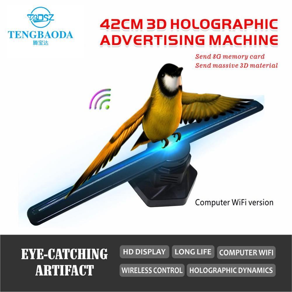 TBDSZ komputer Wifi 3D projektor hologramowy reklamy wyświetlacz LED holograficzny wentylator gołym okiem wentylator światła 3d reklamy świetlne logo