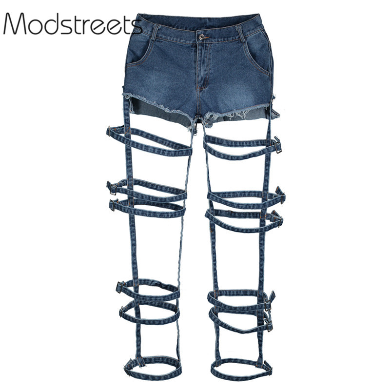 Modstreets 2018 New Sexy   Jeans   Girls Slim High Waist Hole   Jeans   Vintage Woman Spring Blue Denim Pants Button Hollow out