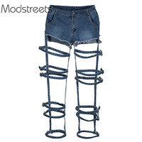 Modstreets 2019 New Sexy Jeans Girls Slim High Waist Hole Jeans Vintage Woman Spring Blue Denim Pants Button Hollow out