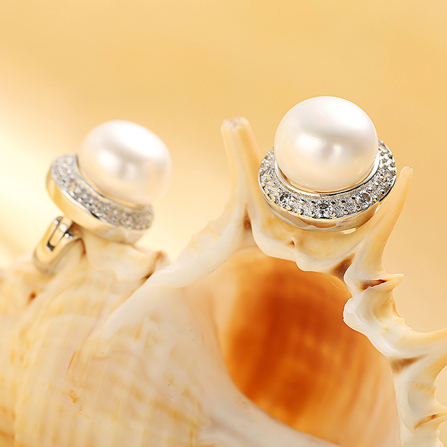 925 Sterling Silver Earrings with Natural Freshwater Pearls Surrounded with Zircon Crystals