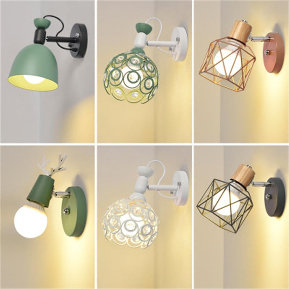 Nordique Simple moderne créatif chevet éclairage salon, chambre, étude mur éclairage, Macaron entrée couloir lanterne