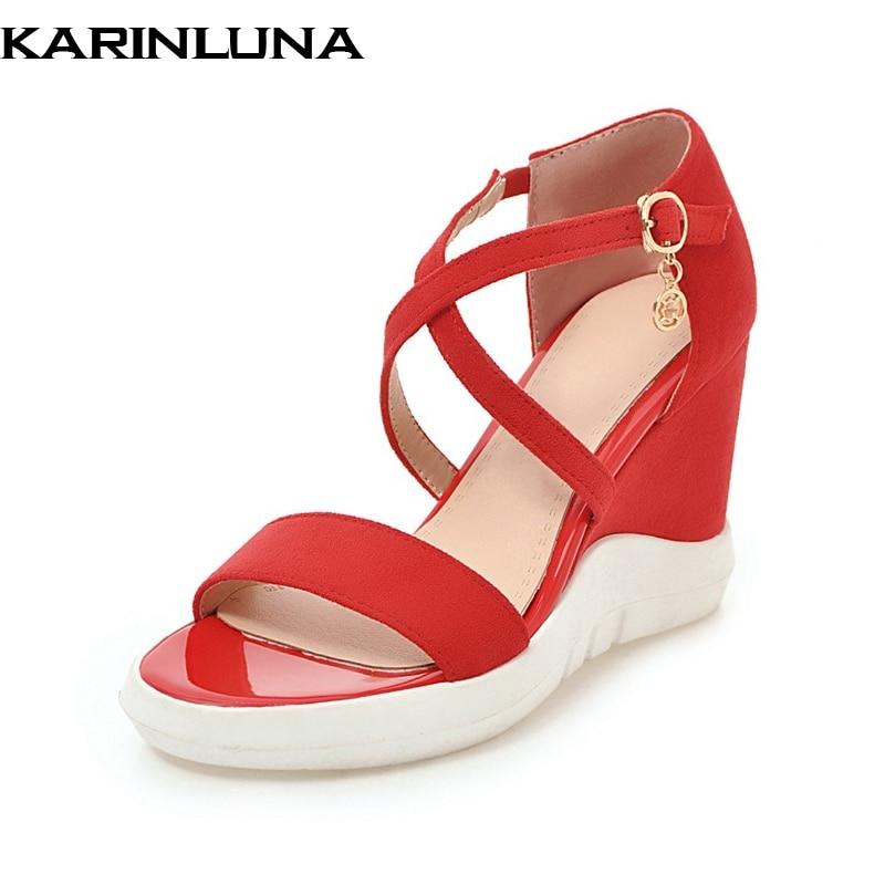 KarinLuna Flock znamko platforma klinov visoke pete poletne sandale - Ženski čevlji