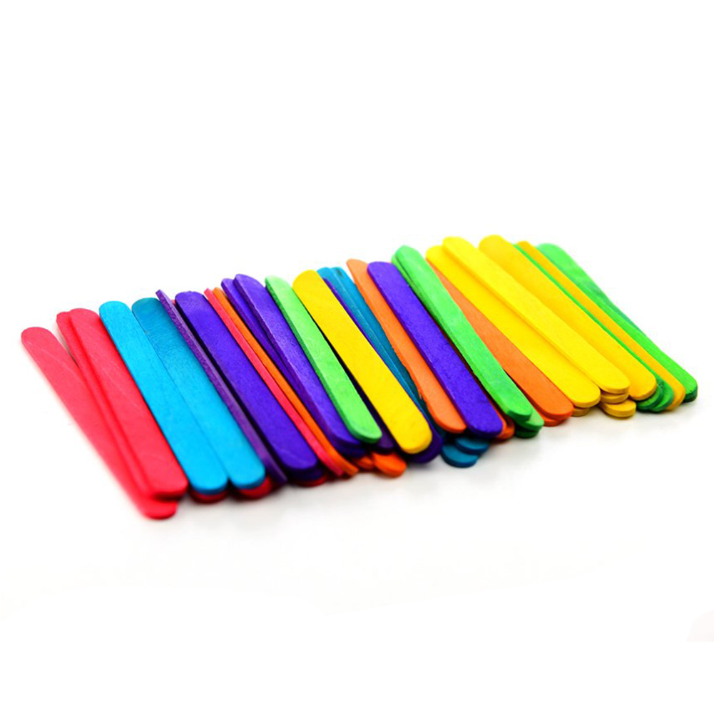 200pcs DIY Art Crafts Kids Hand Toys Colored Wood Craft Popsicle Sticks For Crafts DIY Making Funny Gift Creative Handicraft Toy