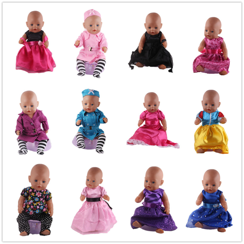 Fres shipping 16 Colors Accessories gift for children Princess Dress Doll Clothes 43cm Baby Born Zapf toys Clothes high quality 15 colors princess dress doll clothes for 43cm baby born zapf doll clothes and accessories best gift for children