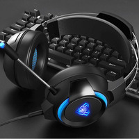 AULA USB E Sport Gaming Headset 7.1 with Light Professional Studio Earphone Wired Headset Headphones Computer Gamer for PC