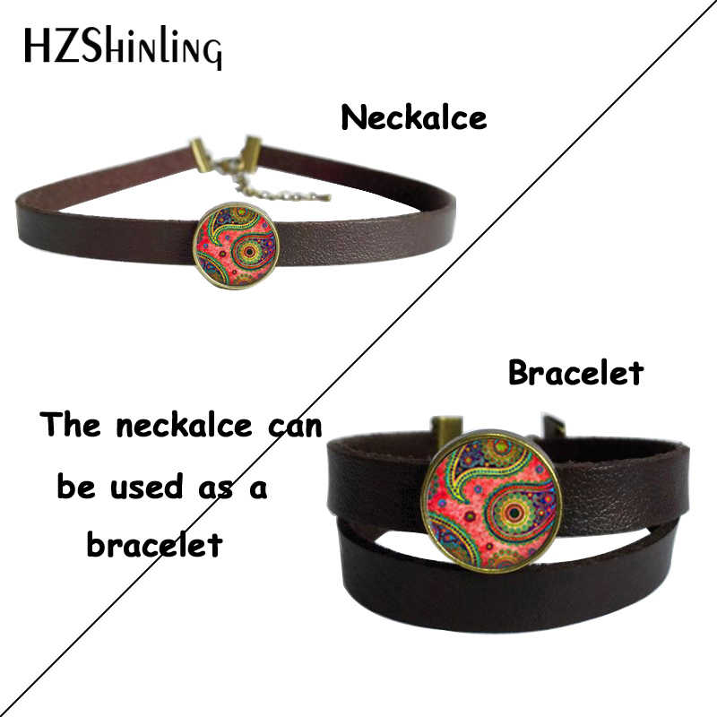 Abstrak Seni Perhiasan Hijau Paisley Seni Kulit Kalung Kalung Kaca Bulat Perunggu Perak Kulit Kalung Kalung untuk Wanita