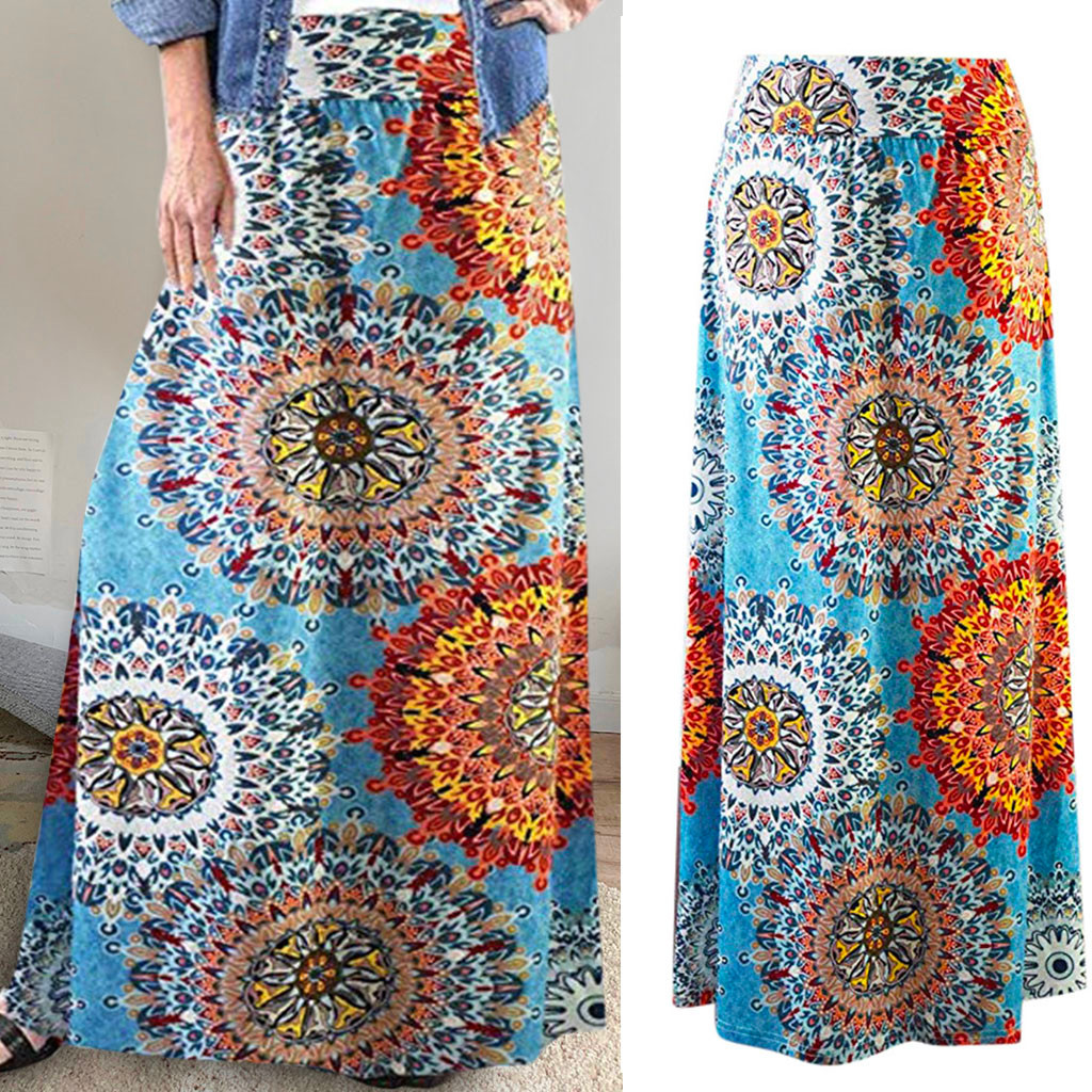 2020 Women's Summer Fashion Casual Beauty Skirt Bohemian Print Long Extra Long Vacation Beach Skirt Faldas Mujer Moda 50