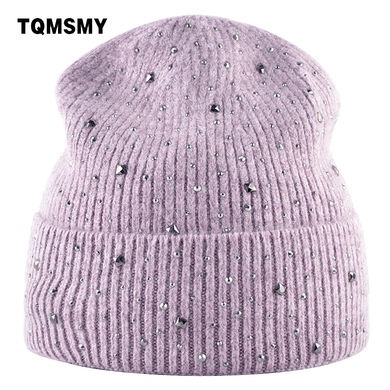 TQMSMY Rhinestone hats lady winter knitted female hat Women   Skullies     Beanies   solid color outdoor velvet double layer hat TMC80
