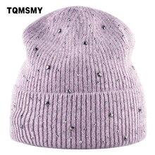 TQMSMY Rhinestone hats lady winter knitted female hat Women Skullies Be