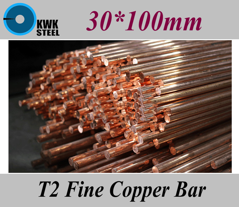 30*100mm T2 Fine Copper Bar Pure Round Copper Bars DIY Material Free Shipping