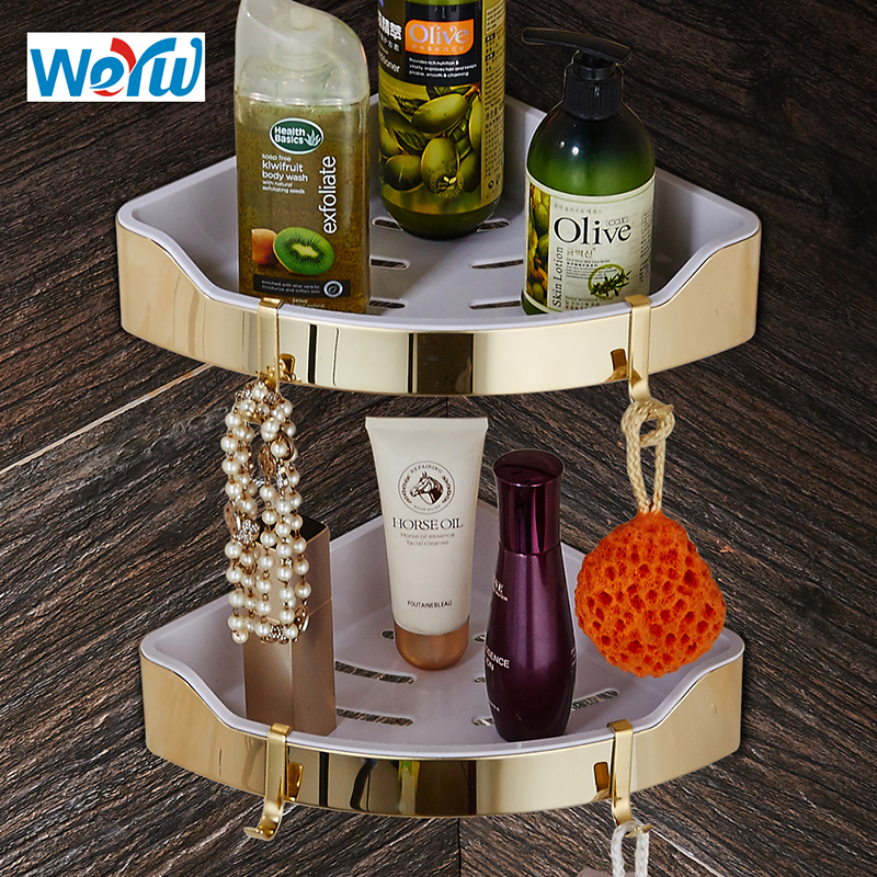 WEYUU Stainless Steel+ABS Plastic Bathroom Shelves Wall Mount Shampoo Soap Cosmetic Shelves Storage Organization Gold