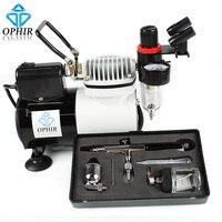 22cc Pot ile OPHIR 0.3mm Çift Eylem Airbrush Geçici Dövme Hobi Tools_AC114 + AC005 Airbrushing için Kompresör