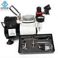OPHIR 0.3mm Dual-Action Airbrush with 22cc Pot Airbrushing Compressor for Temporary Tattoo Hobby Tools_AC114+AC005