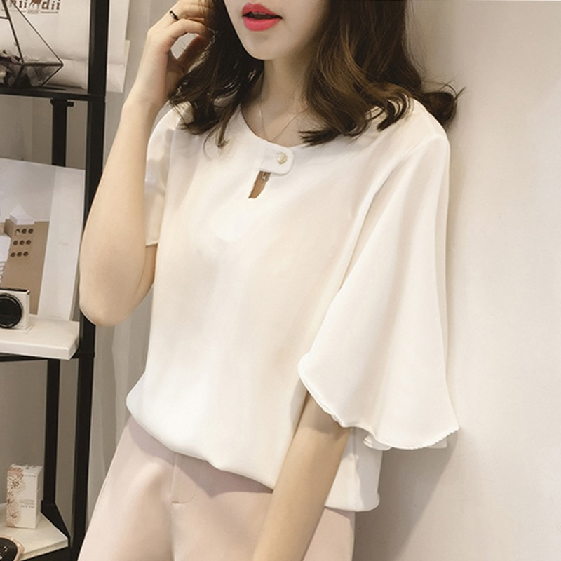 Plus size chiffon   blouse   women half sleeve Button Hollow Out   Blouses     Shirts   2018 Spring Summer lady Casual tops M-4XL