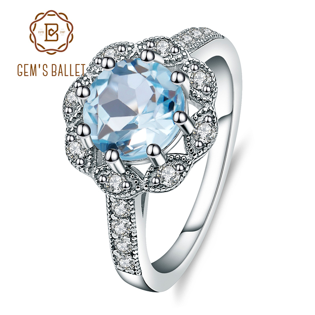 Gems Ballet New Arrivals Natural Sky Blue Topaz Rings Genuine 925 sterling silver Wedding Engagement jewelry For Women