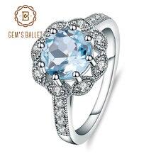 Gems Ballet anillos de Topacio azul cielo Natural para mujer, Plata de Ley 925 auténtica, joyería de compromiso de boda para mujer