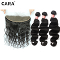 CARA Full Frontal Lace Closure 13*4 With Bundles Body Wave Preplucked Hairline Brazilian Virgin Hair  Lace Closure With Bundles