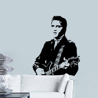 Home Decor Elvis Presley play guitar Vinyl Home Decoration Wall Stickers Decals for kids rooms VAElvis16N