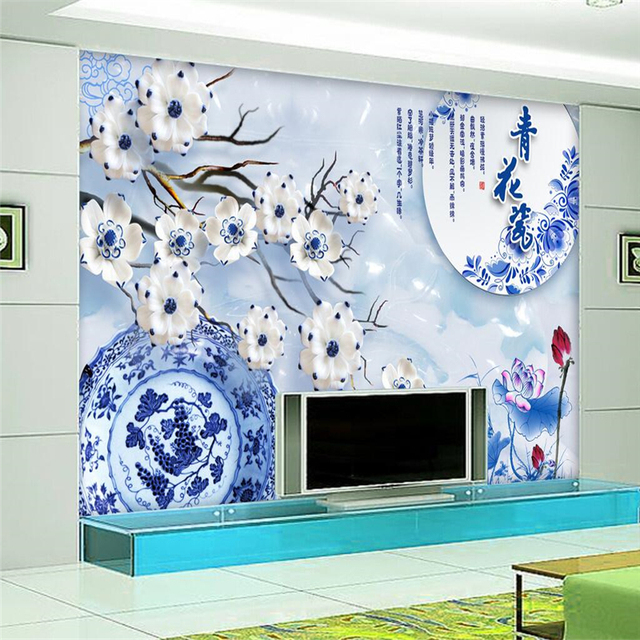 beibehang chinese lotus blue white porcelain large wall papers home