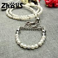 New Silver Pearl Pet Collar Leash Set Dog Collar Dog Leash Pet Supplies Dog Collars For