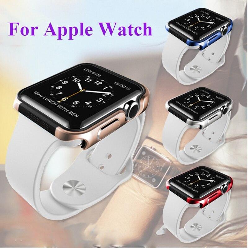 imágenes para Resistente de Doble Capa de Armadura de lujo Reloj Deportivo Para Apple i reloj 42mm Soft TPU Gel de Silicona + Cubierta de Aluminio De Metal Duro Shell