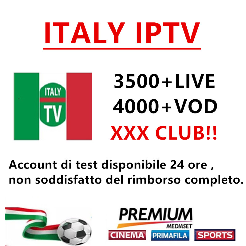 Italy IPTV M3U subscription IPTV for 3500+channels mediaset premium support Android ios sm