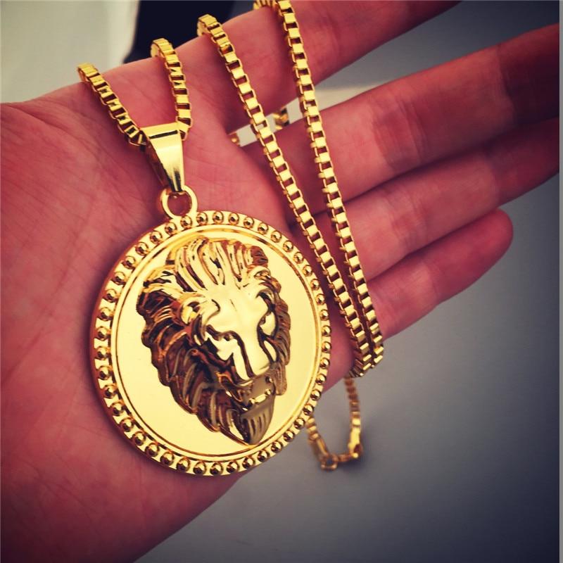 2017 New Hip Hop Jewelry Shiny Golden Lion Head Pendant Necklace ...