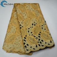 Beautiful Color Color High quality African Cotton Lace Fabric With Beads And Stones Swiss Voile Lace Fabric For Party Dress