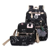 купить 3 Pcs/Set Women USB Charging Canvas Printing School Backpacks Schoolbag For Teenagers Student Bookbag Rucksack дешево