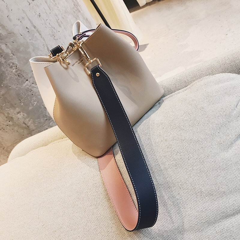 Into style own design handbags bucket bag female 2017 fashion solid color messenger bag