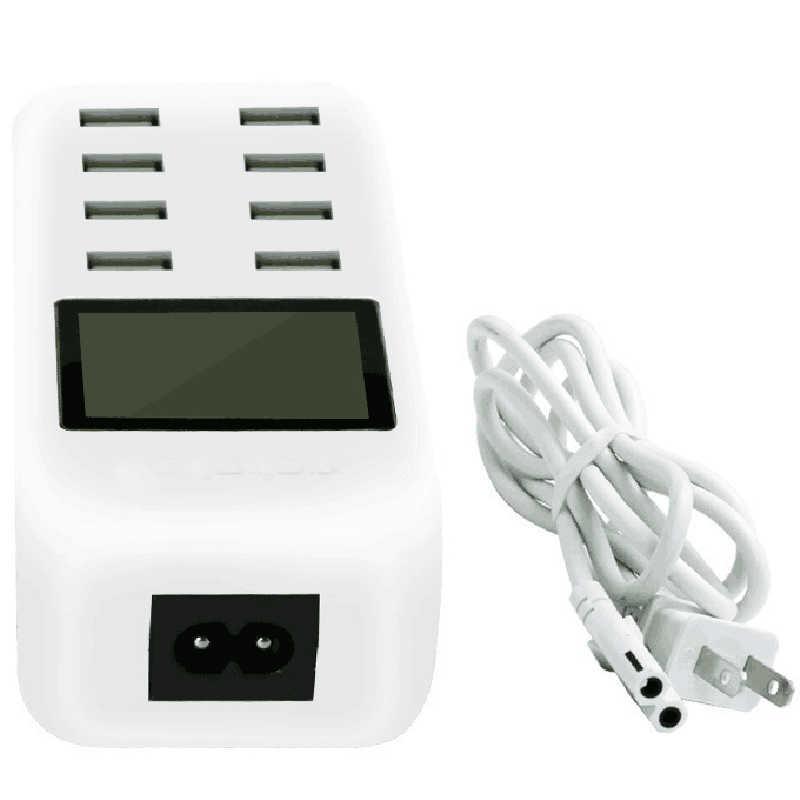 متعدد 8 ميناء الذكية USB مهايئ شاحن مع شاشة الكريستال السائل الولايات المتحدة/الاتحاد الأوروبي/المملكة المتحدة آيفون 7 شاومي سامسونج HTC الذكية قفص الاتهام