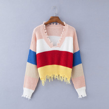 Red Pink Color Block Knit Sweater Women Winter Deep V-neck Tassel Knitted Cropped Pullover Cool Girls Loose Jumpers Pull Femme color block mixed knit pullover sweater