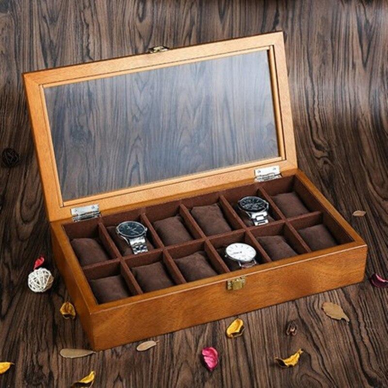 Saatler'ten Saat Kutuları'de 12 yuvaları ahşap saat kutusu Durumda Moda Retro avrupa tarzı saat saklama kutusu Tutucu Ahşap Saat Ve Mücevher Hediye Kutuları C040'da  Grup 1