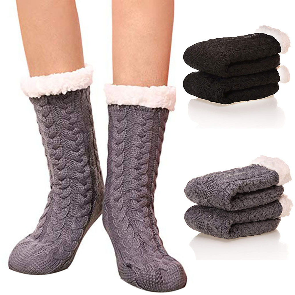 Womail Women and man Wool   socks   Winter Super Soft Cozy Fuzzy Fleece-lined With Gripp Comfortable beauty Solid dropship j15