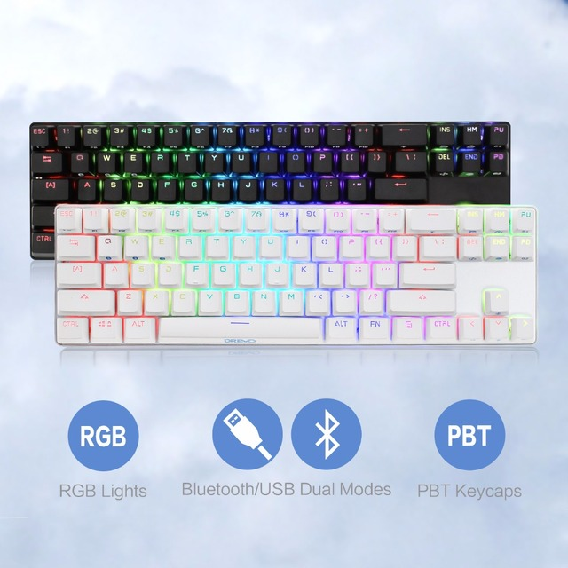 849307d2a61 Drevo Calibur 71-Key RGB LED Backlit Wireless Bluetooth 4.0 Mechanical  Keyboard Blue Switch Sliver White