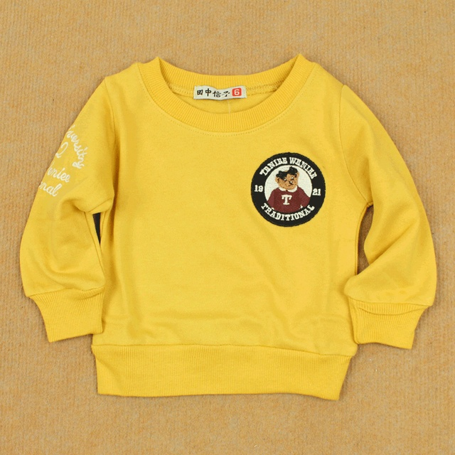 Clothing loop pile cotton pullover sweatshirt infant baby long-sleeve cotton shirt 100% basic t-shirt bear
