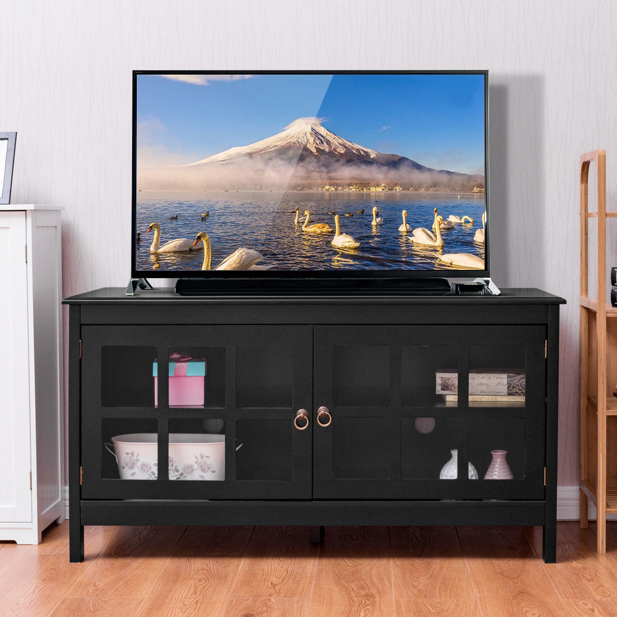 Giantex 50'' TV Stand Modern Living Room Wood Storage Console Entertainment Center With 2 Doors Home Furniture HW56756