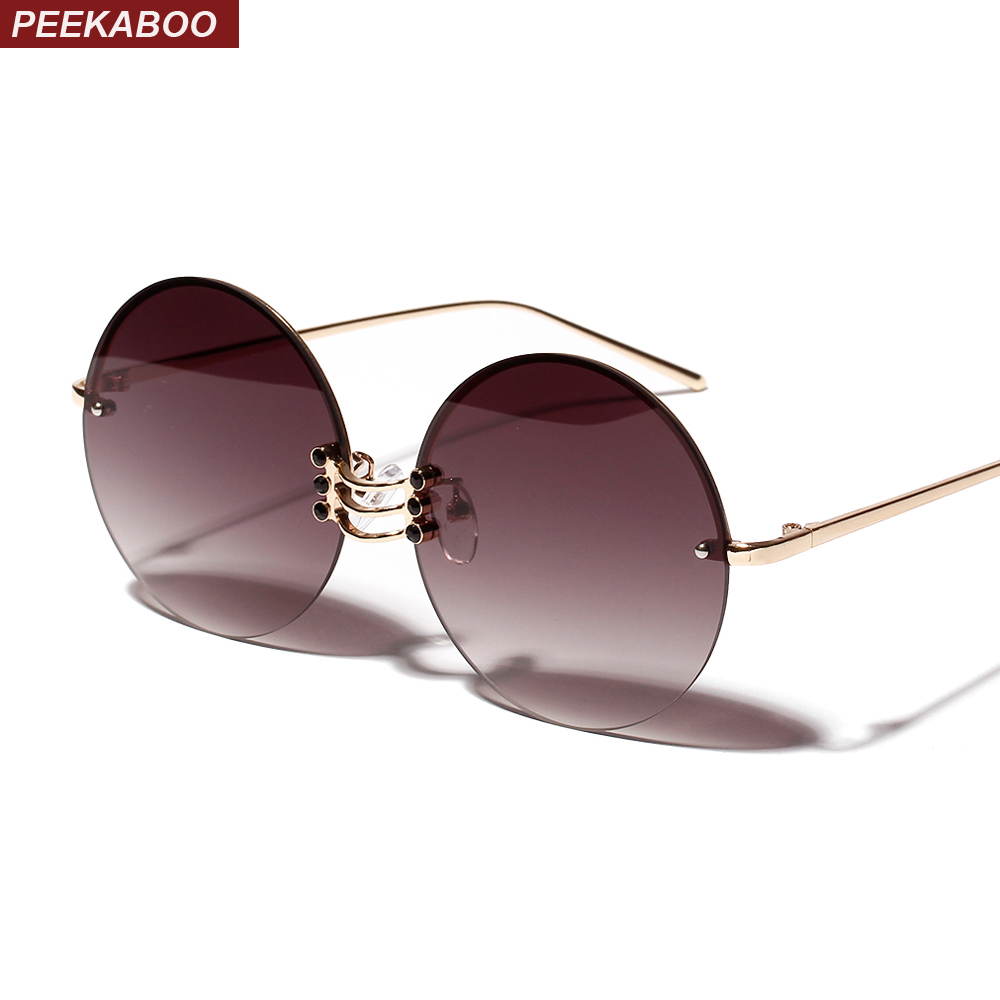 d44b5bdaa Peekaboo metal round sunglasses women retro vintage summer frameless ...