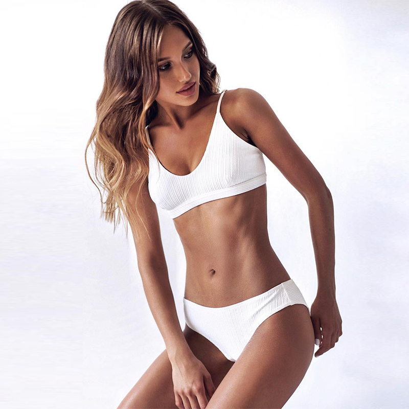 ZTVitality 2019 nueva llegada Sexy blanco sólido Bikini ropa de playa mujeres correas baja cintura traje de baño femenino brasileño Biquini