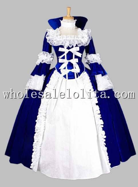 Deluxe Gothic Blue and White Pleuche Jacquard Victorian Era Ball Gown