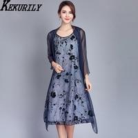 KEKURILY Women Cardigan 2 Piece Suits Party Dress Elegant Nobel Vintage Midi Dresses Floral Fake Silk