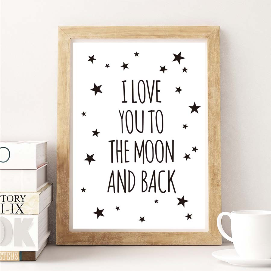 150 Best Printable Wall Art Quote Posters Nursery Kids: Nordic Love You Quote Inspirational Quote Canvas Painting