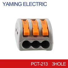 цена 10pcs/lot PCT-213 PCT213 222-413 Universal Compact Wire Wiring Connector 3 pin Conductor Terminal Block Lever AWG 28-12 онлайн в 2017 году