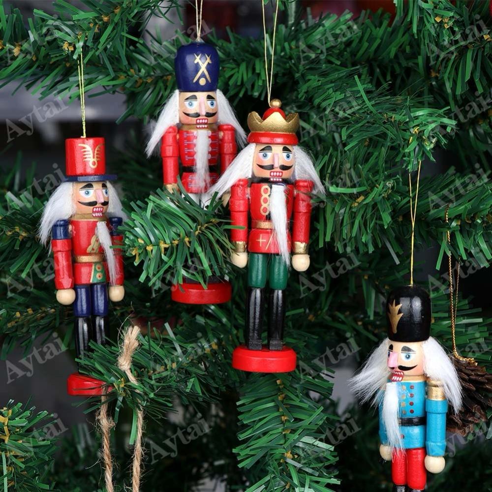 Aytai 6pcs Wood Nutcracker Christmas Lucky Zakka Christmas ...