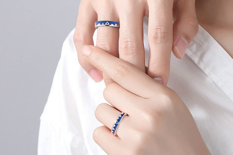 HTB1XnbuNCzqK1RjSZFLq6An2XXaP Flyleaf Blue Dripping Glazed Castle Open Lovers Rings For Women Men Romantic Valentine's Day Gift 925 Sterling Silver Jewelry