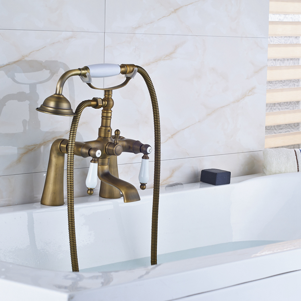 Newly Arrival Antique Brass Finish Bathroom Tub Faucet Mixer Tap W/ Hand Shower thermostatic valve mixer tap w hand shower tub spout tub faucet chrome finish